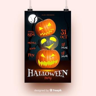 Pilha de cartaz de festa de halloween de abóboras