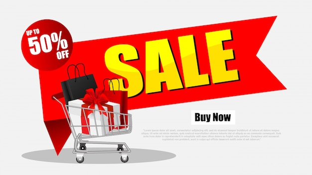 Pilha de compras black sexta-feira venda com carrinho de compras e sacos