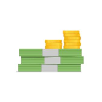 Pilha de dinheiro, dólares e moedas. ilustração, design plano.