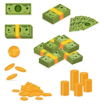 Pilha de dinheiro e pilha de dinheiro.