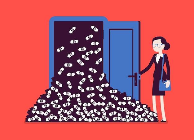 Pilha de dinheiro grande avalanche de dinheiro e mulher de negócios. o gerente de sucesso abre a porta da sorte cheia de dólares, obtém lucro repentino, aumento financeiro rápido. personagens sem rosto de ilustração vetorial