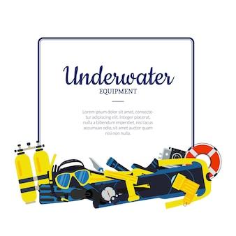 Pilha de elementos de mergulho subaquático abaixo quadro com lugar para texto