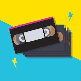 Pilha de fitas cassete de vídeo