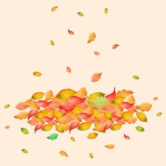 Pilha de folhas em aquarela