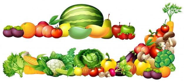 Pilha de frutas e legumes frescos