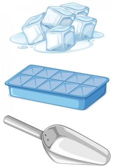 Pilha de gelo com bandeja e colher