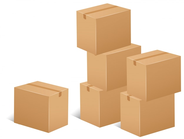 Pilha de ilustração das caixas de papelão