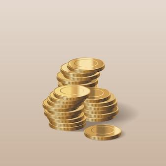 Pilha de ilustração realista de moedas