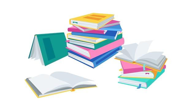 Pilha de livros abertos, com marcadores. pilha plana de literatura da coleção de livros. ilustração de desenho animado