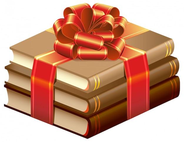 Pilha de livros amarrado a fita. presente de livros