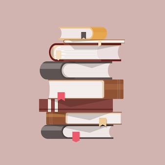 Pilha de livros antigos com capa dura e marcadores de página
