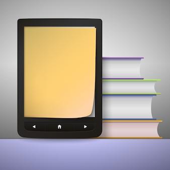Pilha de livros coloridos com leitor de livros eletrônicos.