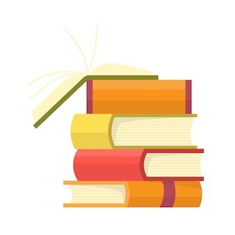 Pilha de livros coloridos com livro aberto. ilustração em vetor educação.