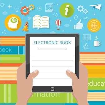 Pilha de livros coloridos com o leitor de livro eletrônico na loja de livros. mãos, segurando, e-livro, caricatura