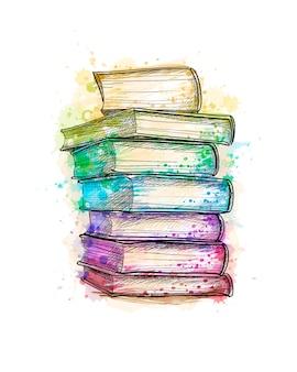 Pilha de livros coloridos multi de um esguicho de aquarela, esboço desenhado de mão