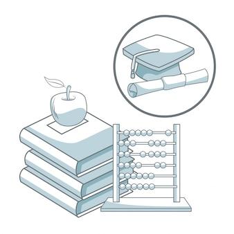 Pilha de livros com aale e ábaco com capa e certificado de graduação de moldura circular