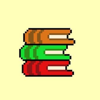 Pilha de livros com estilo pixel art