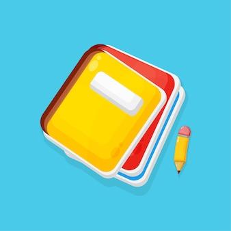 Pilha de livros com o ícone de um lápis