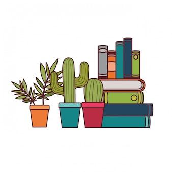 Pilha de livros com planta de casa