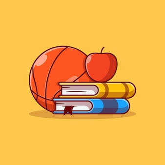 Pilha de livros de desenho de ilustração vetorial com maçã em cima e basquete