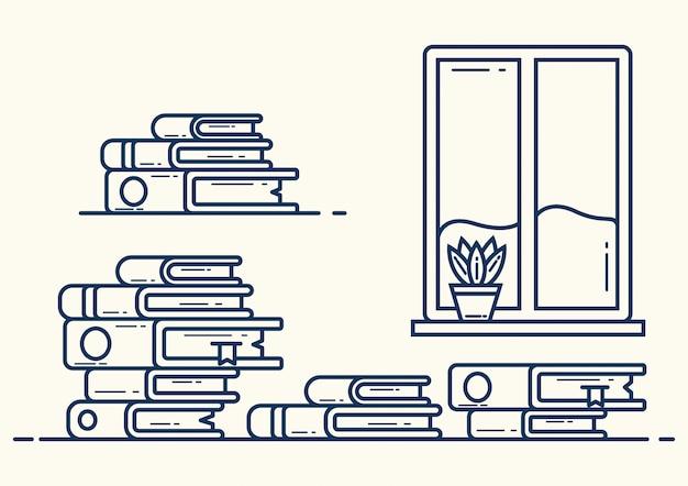 Pilha de livros de ilustração em estilo de linha