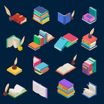 Pilha de livros de livros didáticos e cadernos em estantes na biblioteca ou livraria ilustração isométrica conjunto de capa de livraria da literatura escolar isolada no fundo