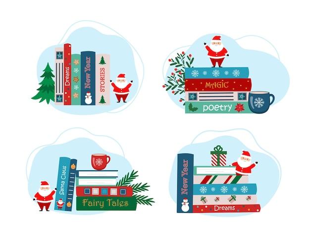 Pilha de livros de natal com copo figura de papai noel e decoração de natal. livros infantis