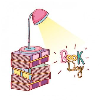 Pilha de livros de texto com lâmpada