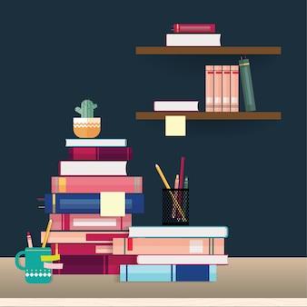 Pilha de livros e artigos de papelaria na mesa e prateleiras