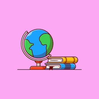 Pilha de livros e desenho de ilustração vetorial de globo