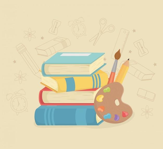 Pilha de livros e suprimentos de volta à escola