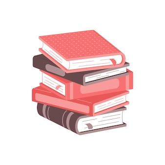 Pilha de livros em um fundo branco pilha de livros ilustração vetorial