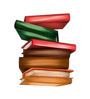 Pilha de livros multicoloridos de respingos de aquarela coloridas, desenho realista