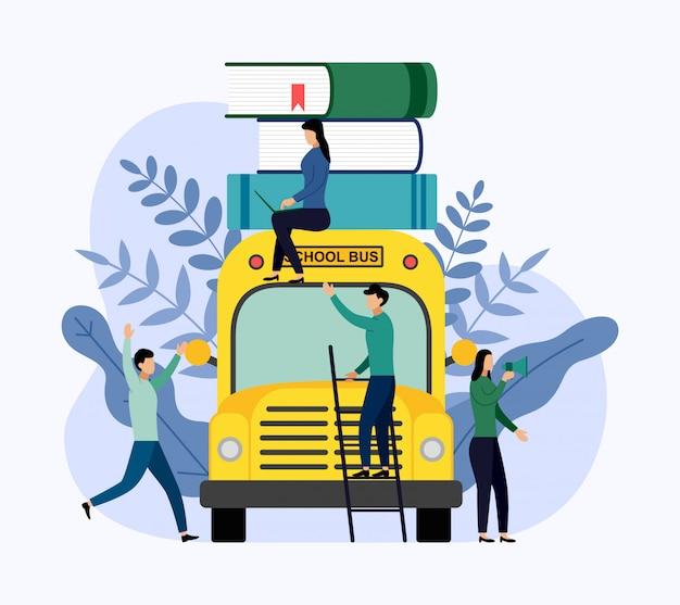 Pilha de livros no ônibus escolar, educação