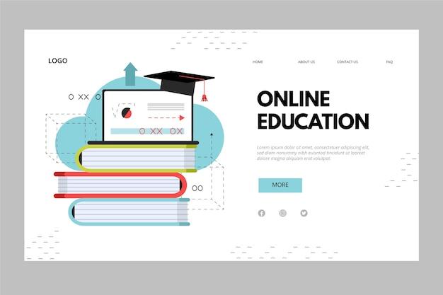 Pilha de livros página de destino de educação on-line