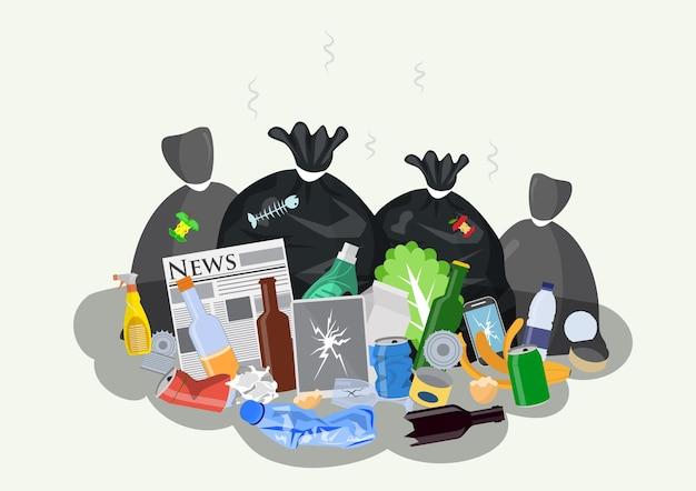 Pilha de lixo doméstico