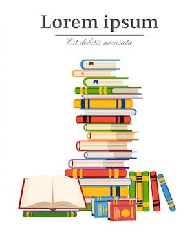 Pilha de modelos de infográfico de educação de livros com ilustração de pilha de livros com lugar para seu texto na página do site da web com fundo branco e design do aplicativo móvel