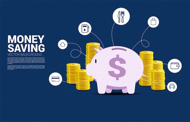 Pilha de moeda de dólar e cofrinho com ícone de custo mensal