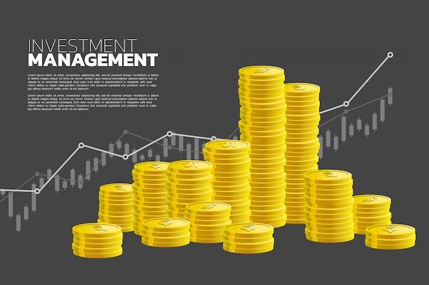 Pilha de moeda e bom fundo gráfico de negócios.