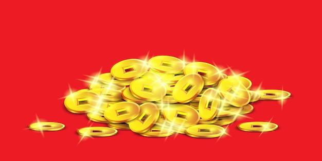 Pilha de moedas chinesas isoladas na ilustração de estilo realista e vermelho. d