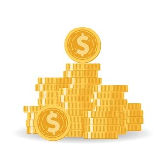 Pilha de moedas com fundo mútuo, aumento de renda