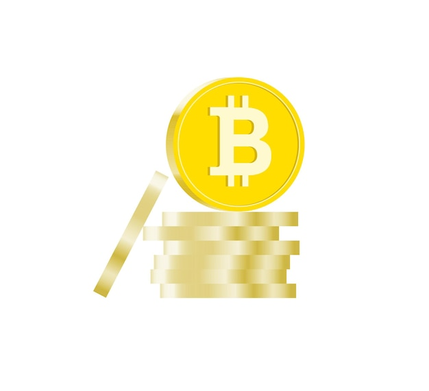 Pilha de moedas de criptomoeda bitcoins