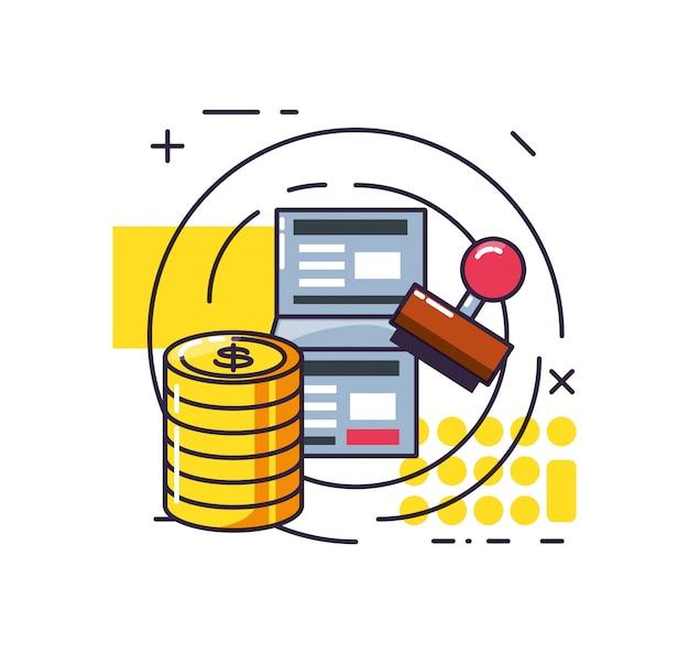 Pilha de moedas de dólar com relatório e conjunto de ícones