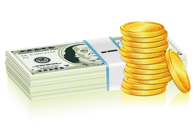 Pilha de moedas de dólar e ouro
