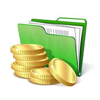 Pilha de moedas de ouro ao lado da pasta verde com documentos, símbolo de um projeto de negócios bem sucedido