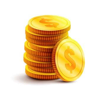 Pilha de moedas de ouro com cifrão. ilustração de dinheiro isolado no branco