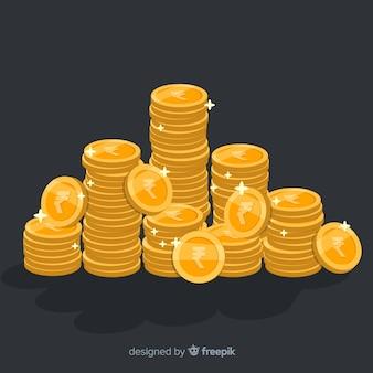 Pilha de moedas de ouro de rupia indiana