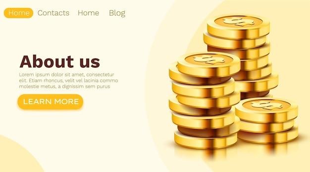 Pilha de moedas de ouro do dólar isoladas em branco. modelo de página de destino