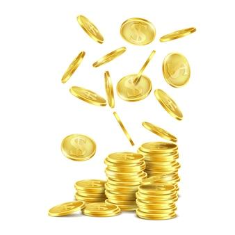 Pilha de moedas de ouro, dólares de metal com o símbolo s e cair dinheiro