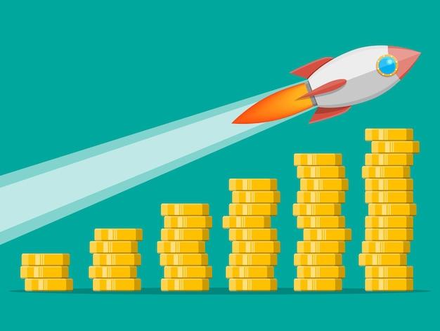 Pilha de moedas de ouro e foguete espacial. moeda de ouro com cifrão. crescimento, renda, poupança, investimento. símbolo de riqueza. sucesso nos negócios. ilustração em vetor estilo simples.